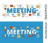 meeting lettering flat line... | Shutterstock .eps vector #386339452