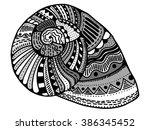 zentangle stylized shell. hand... | Shutterstock .eps vector #386345452