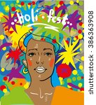holli festival with indian man... | Shutterstock .eps vector #386363908