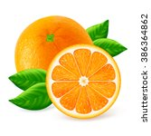 whole and cut oranges fruits... | Shutterstock .eps vector #386364862