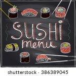 sushi menu card hand drawn...   Shutterstock .eps vector #386389045