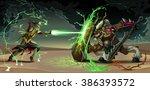 fighting scene between elf and... | Shutterstock .eps vector #386393572