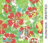 summer coloful hawaiian... | Shutterstock .eps vector #386407822