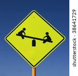 Playground Road Sign With See...