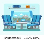 passenger train inside. seat in ... | Shutterstock .eps vector #386421892