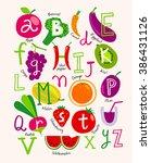 cute vector vegetarian alphabet ... | Shutterstock .eps vector #386431126