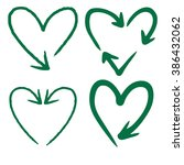 doodle freehand set of heart... | Shutterstock .eps vector #386432062
