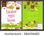 happy easter poster vector.... | Shutterstock .eps vector #386436682