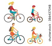 bicycle set for family ride.... | Shutterstock .eps vector #386437048