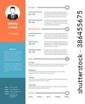 cv  resume template  vector... | Shutterstock .eps vector #386455675