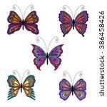 set of butterflies. vector... | Shutterstock .eps vector #386458426