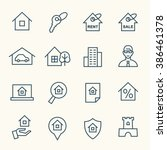 real estate line icons | Shutterstock .eps vector #386461378
