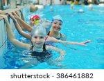 happy children kids group at... | Shutterstock . vector #386461882