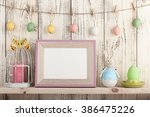 easter decoration with blank... | Shutterstock . vector #386475226