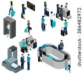 people in airport isometric | Shutterstock . vector #386482972