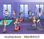 fitness hall poster | Shutterstock . vector #386484415