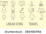 tourism  camping linear icons...