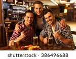 three young men in casual... | Shutterstock . vector #386496688