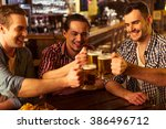three young men in casual... | Shutterstock . vector #386496712