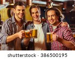 three young men in casual... | Shutterstock . vector #386500195