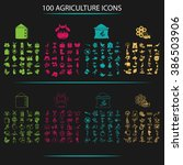 set of one hundred agriculture... | Shutterstock .eps vector #386503906