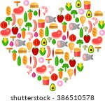 vector illustration of food... | Shutterstock .eps vector #386510578