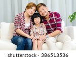 indoor portrait of asian family ... | Shutterstock . vector #386513536