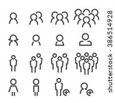people line icon set