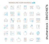 mono line vector icon bundle 36 ... | Shutterstock .eps vector #386524876