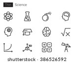 science vector icons set thin... | Shutterstock .eps vector #386526592