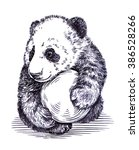 engrave ink draw panda... | Shutterstock . vector #386528266