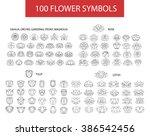 100 Flower Thin Line Flat...
