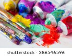 Tubes Of Multicolor Oil Paint...