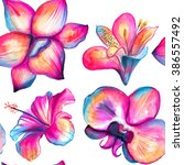 orchid  hibiscus  lily seamless ... | Shutterstock . vector #386557492