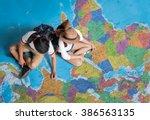 the tourist planning a tour... | Shutterstock . vector #386563135