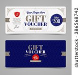 gift voucher template with... | Shutterstock .eps vector #386568742