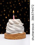 birthday cupcake with burning... | Shutterstock . vector #386574472
