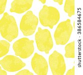 seamless botanical lemon... | Shutterstock .eps vector #386584675