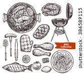 bbq grill sketch set. hand... | Shutterstock .eps vector #386589115