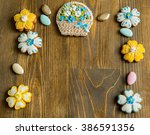 cookies on wooden background | Shutterstock . vector #386591356