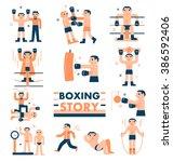 boxing story  vector... | Shutterstock .eps vector #386592406