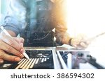 businessman working with... | Shutterstock . vector #386594302