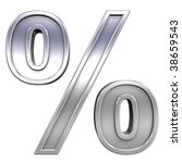 Percent sign from chrome with frame alphabet set, isolated on white. Computer generated 3D photo rendering. - stock photo