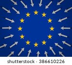 european union flag and lots of ... | Shutterstock .eps vector #386610226