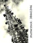 transmitter tower against...