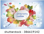 floral poppy and cosmos... | Shutterstock .eps vector #386619142