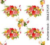 floral poppy and cosmos... | Shutterstock .eps vector #386619145