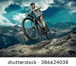 man in helmet and glasses stay... | Shutterstock . vector #386624038