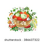 pickled vegetables in a wooden... | Shutterstock .eps vector #386637322