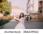 beautiful blonde bride enjoys...   Shutterstock . vector #386639062